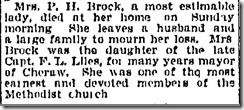 Mrs P. H. Brock Obituary