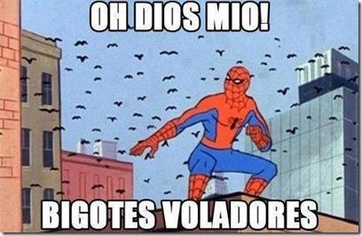 el ataque de los igotes voladores contra spiderman jajaja cartel gracioso