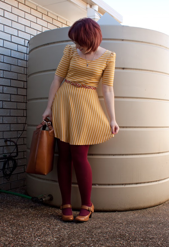 yellow mustard striped dress nautical