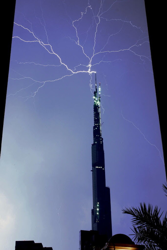 Light storm hitting Burj Khalifa