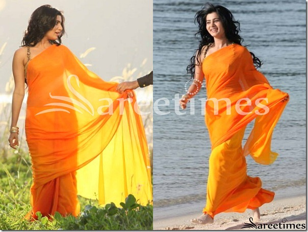 Samantha_Orange_Plain_Saree