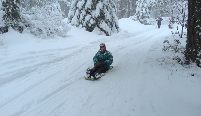 Sue on the funky new sled