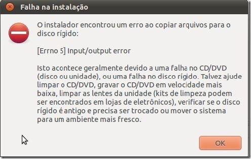 Arquivos corrompidos na instalação do Ubuntu