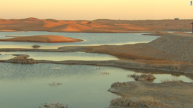 Lake Zakher is in a remote corner of the United Arab Emirates, a blue lake shimmering amid the sand dunes. The lake is an industrial byproduct of the desalination system used to meet the UAE's water needs. With few sources of fresh water in the region, the country has relied on desalinating seawater for domestic use. Photo: CNN