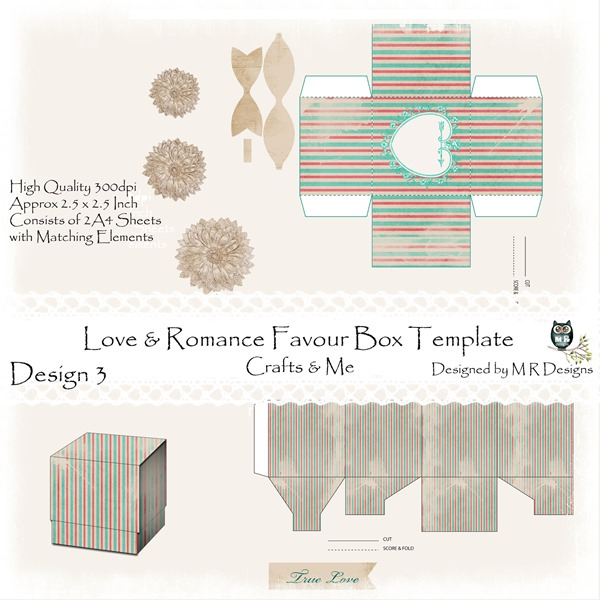Love & Romance Favour Box Design 3 Front Sheet