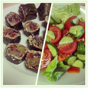 3 Mittagessen Reste-Sushi und Salat