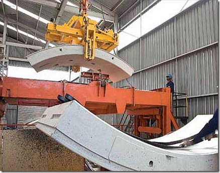 Tunnel lining segments in precast factory
