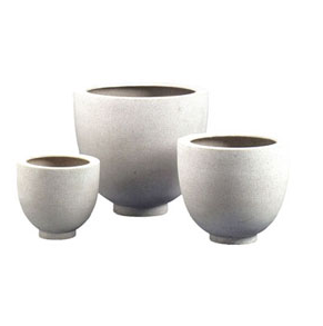 This is a perfect set of planters. You can get several in different sizes and your whole space will match. (jamaligarden.com)