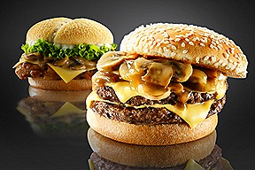 BK Doubles Mushroom Swiss Beef Burger and Mushroom Swiss Tendergrill Chicken Burger t