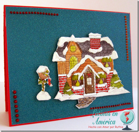 Winter home with birdhouse - Inky Impressions - Latinas en America - Ruthie Lopez DT - My Hobby = My Art