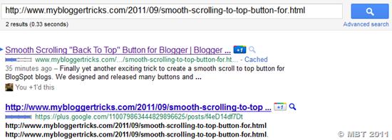 Google Plus indexed