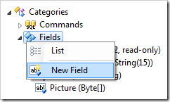 New Field context menu option in the Project Explorer.