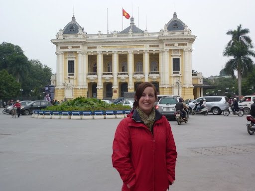 Lynette in front of Hanoi Opera House; if you&#039;ve ever heard Asian opera you&#039;ll understand why we didn&#039;t go inside...