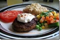 turkey burger rice veggies