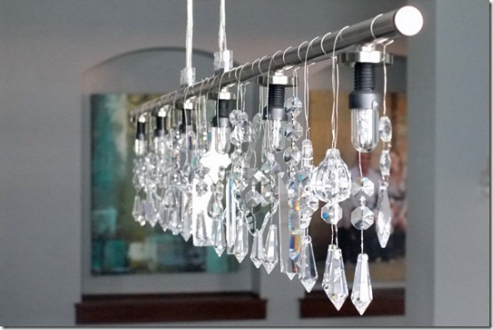friday feature--modern linear chandelier with crystals from teal and lime blog