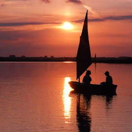 Romantic Sunset by Kevin Myhill - Landscapes Sunsets & Sunrises ( water, horsey sunset, sailing, sail, boat, people,  )