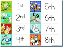 12 Days of Christmas Ordinal Numbers