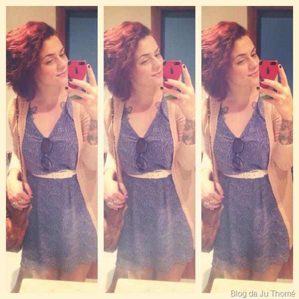 look vestido azul de poá com cardigã de renda  (2)