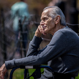 Waiting by Tony Filson - People Portraits of Men ( old, thinking, waiting, old man, man, portrait )