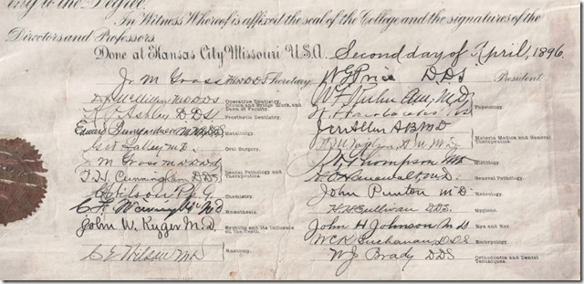 Frederick E. Webster Dental Doctoral Diploma 1896 Cropped Witness Signatures Cropped