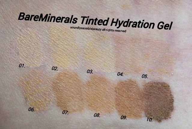 Bare Minerals Complexion Rescue Tinted Moisturizer Hydrating Gel Review & Swatches of Shades Opal, Vanilla, Buttercream, Suede, Natural, Ginger, Tan, Spice, Chestnut, Sienna