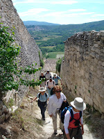 Walking up to the Chateau of the Marquis de Sade, Lacoste in Provence