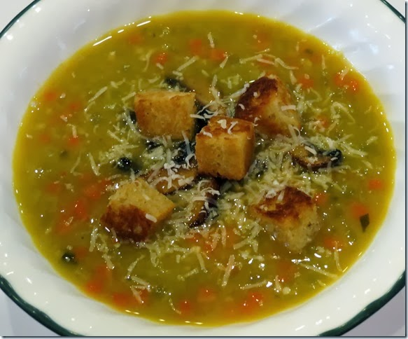 Split Pea Soup with Mushrooms and Croutons 1-29-14