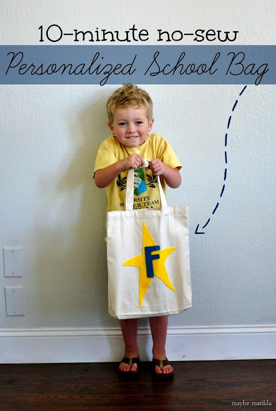 Make a personalized preschool tote bag in 10 minutes with no sewing involved!