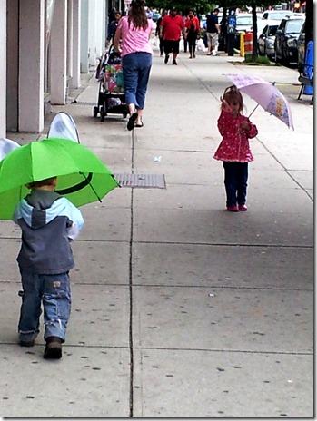 Nolan and Elaine in rain