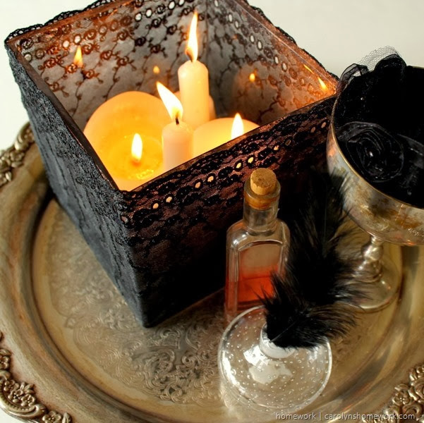 Black Lace Decoupage Votive for Halloween via homework | carolynshomework.com