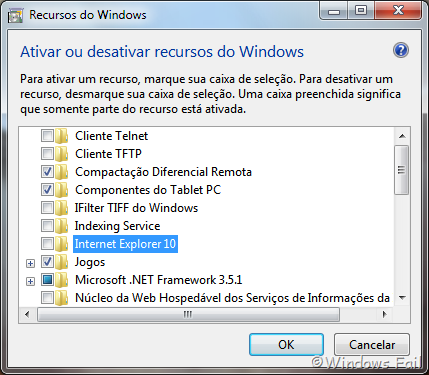 Desmarque a caixa de seleção Internet Explorer. Confirme a caixa de diálogo que aparece clicando em Sim, depois clique em Ok