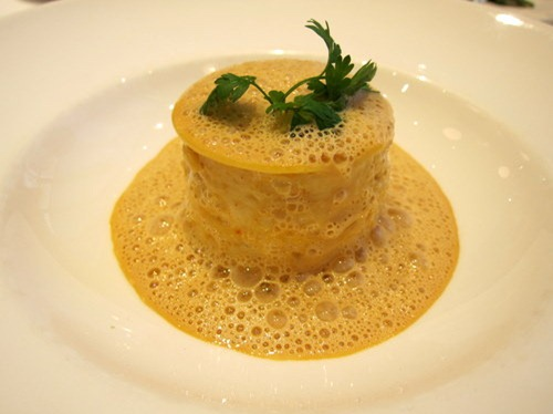 Lasagne of Dorset crab, crab bisque