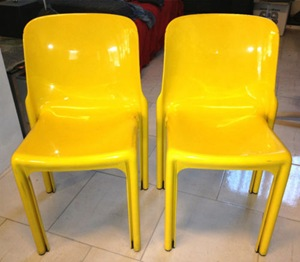 Selene stacking chair, yellow