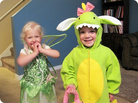 a dragon (Hailey) and tinkerbell (Ellie)