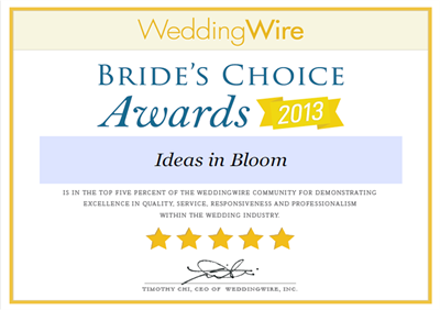 WeddingWire Bride's Choice 2013 Cert