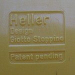 Stoppino record album/LP/storage rack for Heller, yellow imprint