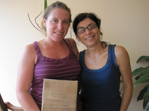 Heather and Martha with care package, Masaya, Nicaragua