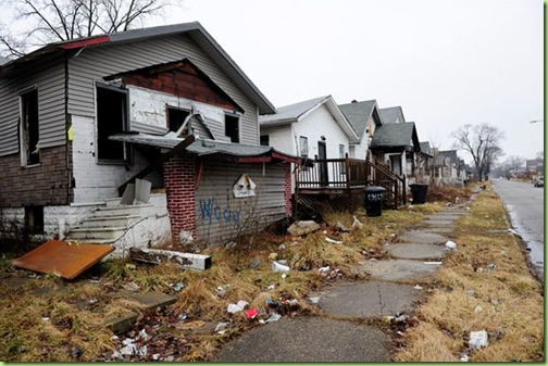 Some of the 90,000 abandoned and derelict homes of Detroit