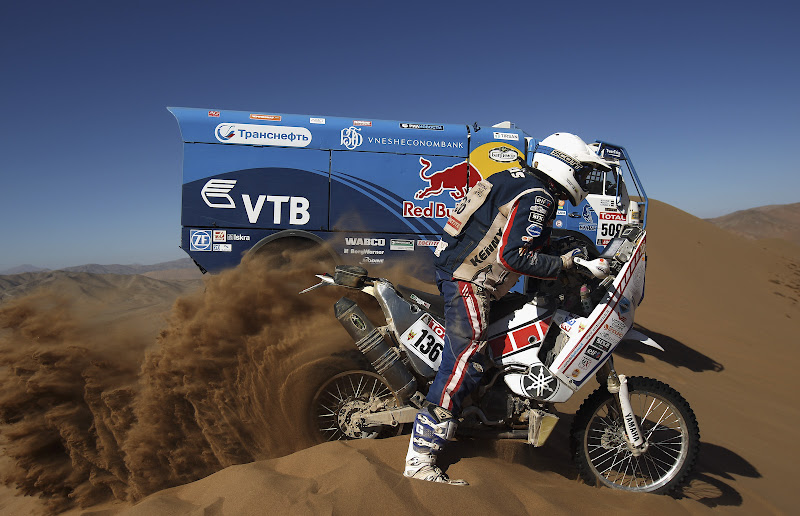 COPIAPO, CHILE - JANUARY 07: Gintautas Igaris of Lithuania and Franco Picco Racing rides up a sand dune during stage seven of the 2012 Dakar Rally from Copiapo to Copiapo on January 7, 2012 in Copiapo, Chile.  (Photo by Bryn Lennon/Getty Images,)
