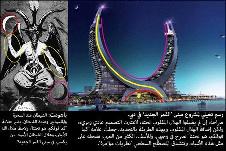 مقارنة صورة باهومت بصورة مبنى القمر الجديد As above So below in Dubai proposed architecture