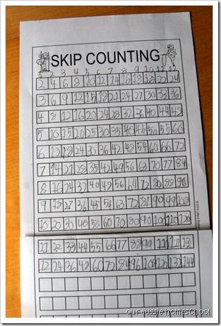 Skip Counting Drill Sheets