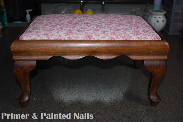 Footstool Before 2 - Primer & Painted Nails