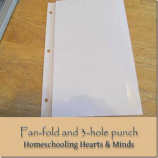 Print and assemble your timeline.  It will accordion fold to fit neatly into a binder or notebook.  Free Ancient World and Middle Ages timelines available at Homeschooling Hearts & Minds!