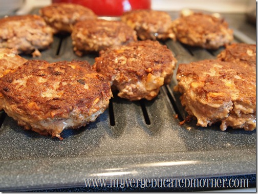 no-ketchup meatloaf patties draining on a pan