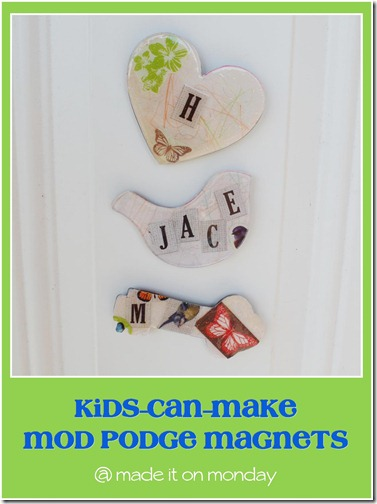 Kids can make Mod Podge magnets