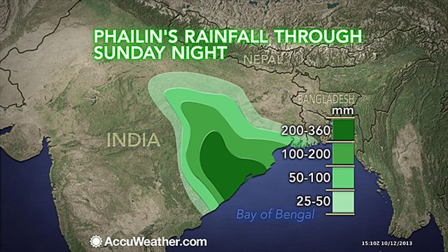 Projected rainfall from Cyclone Phailin, 12 October 2013, showing a wide area of potentially life-threatening floods. Graphic: AccuWeather