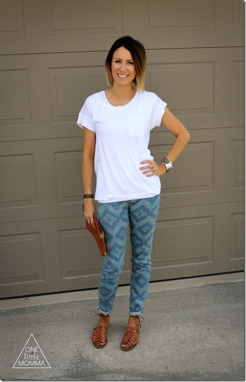 Geometric blue toned jeans are a fresh take on printed pants- pair with white tee and basic flat sandals