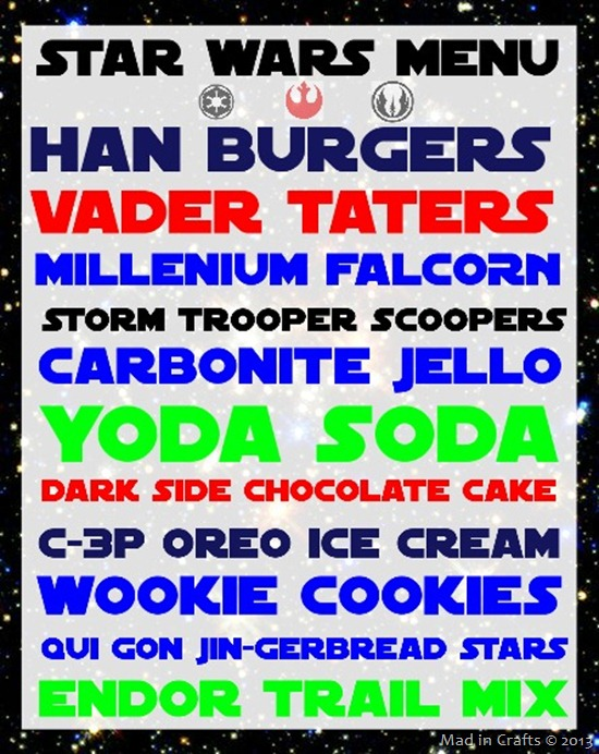 star wars menu