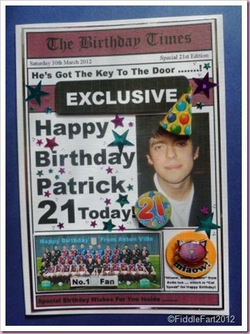 Newspaper Card Aston Villa
