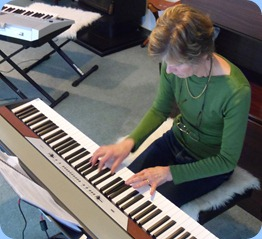 Denise Gunson playing the Club's Korg SP250